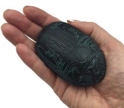 Scarab Egyptian Amulet with Osiris and Wedjat Figurine 3.2L