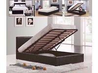 ** 10 DAYS MONEY BACK GUARANTY ** DOUBLE STORAGE LEATHER BED WITH QUALITY MATTRESS - FAST DELIVERY