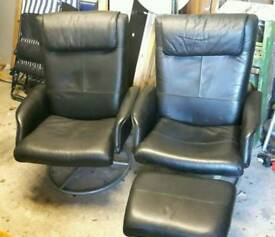 2 Leather effect reclining chairs with footstool