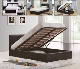 """DISCOUNT OFFER"" -- Double Gas Lift Storage Leather Bed With Mattress Available -- Hurry Up!"