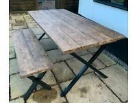 Metal cross legged table and bench