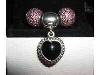 Genuine Pandora pink pave ball charms
