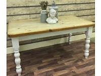 RUSTIC CHUNKY SOLID PINE FARMHOUSE TABLE IN FARROW AND BALL CAN DELIVER