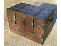 Genuine old vintage pirate chest trunk in lovely condition