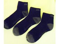 Mens On One Sports Running Cushioned Ankle Socks. Black with Grey. 3 Pairs. Size: 3-9
