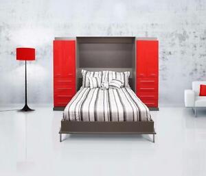 Cama Oculta Doble roja y gris en Thermoplastic sin taxes.