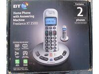 BT Freelance XT 3500 land answering machine + 2 Handsets