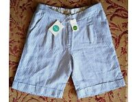 Ladies Boden Blue & White Striped Linen Shorts Size 8 (New with Tags)
