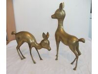 """2 Large Vintage Brass Deer. Tallest approx 15½"""" high. Good Condition. Price is for BOTH"""
