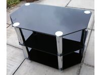 TV STAND, GLASS AND CHROME - Excellent condition: 70x42x49 (LWH) cm