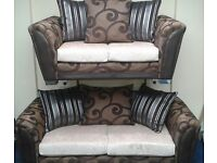 New 3 plus 2 seater brown fabric sofas