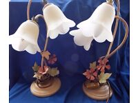 Pair of art nouveau frosted table lights