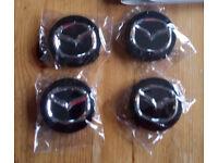 BLACK MAZDA 56MM ALLOY WHEEL CENTRE CAPS X 4 fits 2, 3, 5, 6