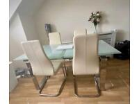Glass extendable table & 4x Leather chairs