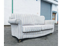 3 seater Gold/grey stripe duresta style sofa DELIVERY AVAILABLE