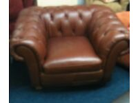 Brand New* Top Quality Leather *Large Laz - Boy Chesterfeild club chair*Chestnut Brown*