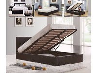 **FREE DELIVERY** 5FT KINGSIZE LEATHER OTTOMAN GAS LIFT HYDRAULIC BED FRAME WITH MATTRESS OF CHOICE