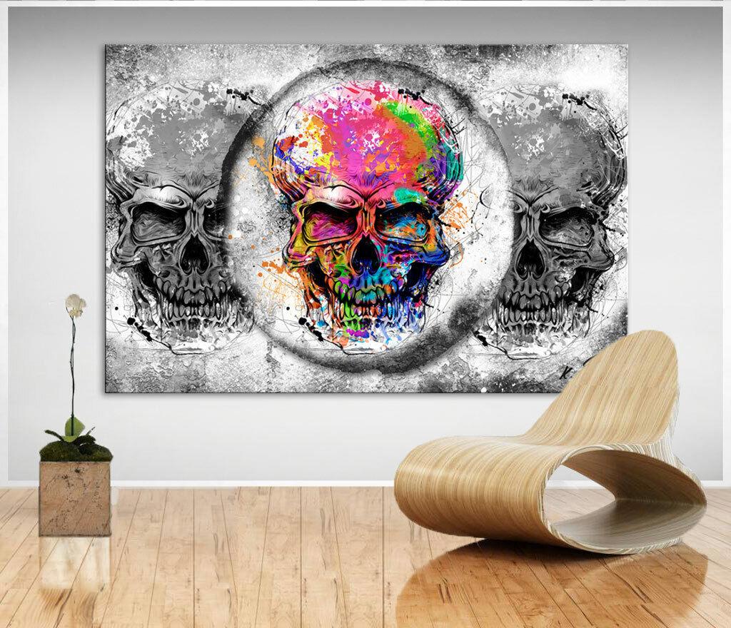 Totenkopf Bild Bunt Farbe Leinwand Abstrakte Kunst Bilder Wandbilder XXL D2151