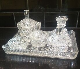 Vintage Cut Glass Dressing Table set