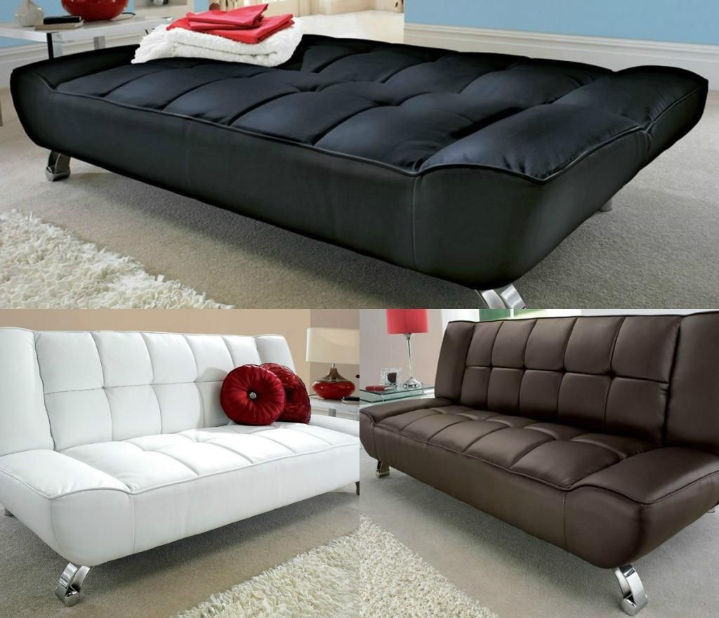 Leather Sofa Bed 3 Seater Futon Day