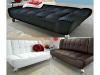 Leather Sofa, Sofa Bed, 3 seater, Futon, Day Bed. leather. black, futon, sofa bed, grey fabric,