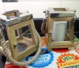 Lovely Wooden/Glass Candle Lantern Holders