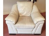 Cream 3 seater sofa & chair