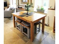 Small rustic solid oak farmhouse dining table