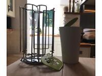 Tassimo pod holder, bin and stencil - (green trim)