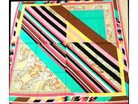 Silk scarf peinture à rayures red black yellow braun white green