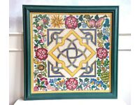 Elizabethan Knot Cross-Stitch Picture Arts & Crafts Green Frame (53 x 53cm's) Hand Sewn Art