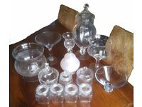 Collection of 14 pieces of Glassware ideal for Sweet Tables