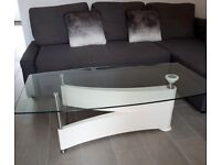 Glass/ white coffee table