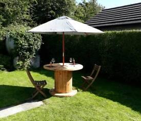 Cable drum reel patio table cafe shop rustic garden patio