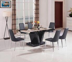 Boni Dining Table - Black and White