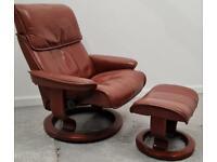 Ekornes Stressless swivel recliner Burgundy leather chair and Stool 16062112