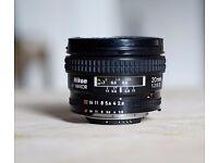Nikon AF Nikkor 20mm f2.8 D Wide Angle Prime Lens