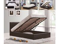 "Brand New -- Double Gas Lift Storage Leather Bed + 9"" Deep Quilt Mattress -- Same Day Free Delivery"