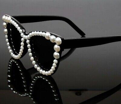 Ladies Pearl Framed Sunglasses Black Frames Fashion Accessories Eye Wear