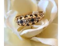 BEAUTIFUL VICTORIAN ANTIQUE 18ct GOLD DIAMOND AND SAPPHIRE BOAT RING SIZE L