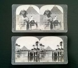two original vintage ( circa 1900s ) stereoscopic photographs of egypt