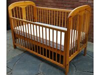 cot bed, with mattress. Use as a cot then later as a junior bed. In good condition
