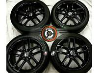 """17"""" Genuine VW Seat, alloys 5x112 refurb gloss black, excellent matching tyres."""