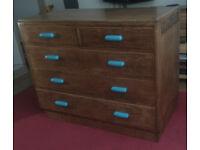 midcentury oak utility chest of drawers (large)