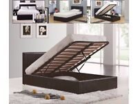 gas lifted ottoman leather storage bed frame + memory foam mattress brown black white