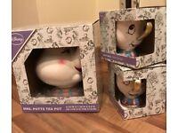 Disney Ceramic Mrs Potts Tea Pot & Chip Mugs