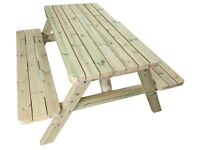 Premium 4-FT Heavy Duty Wooden Picnic Table Made With Chunky Furniture Grade Swedish Redwood
