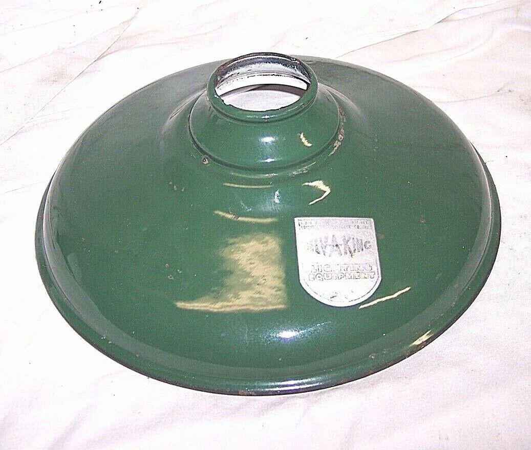 VINTAGE GREEN PORCELAIN ENAMEL 10 INDUSTRIAL METAL LAMP SHADE GASOLINE NOS - $45.00