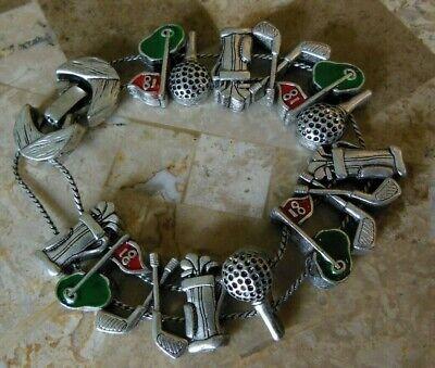 Golf Theme Sliding Charm Bracelet Enamel Vintage Clubs Tee Balls Hole](Golf Theme)
