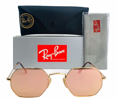 Cheap Gold Frames (New Ray-Ban RB3556N Octagonal Flat Sunglasses 001/z2 Gold Frame Pink Flash)